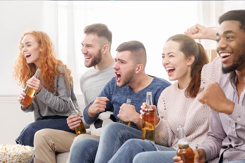 Watching football - home cinema Garden Room